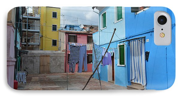 Italy - Venezia - Laundry Day In Colorful Burano IPhone Case by Ana Maria Edulescu