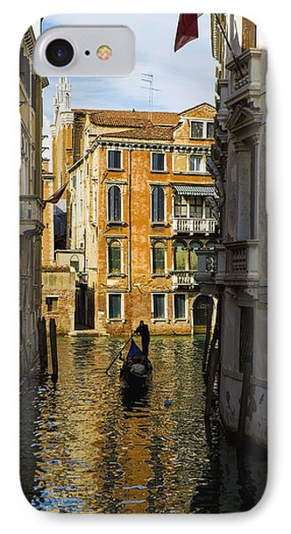 Italy, Venice, Rowing Gondola IPhone Case by Richard Desmarais
