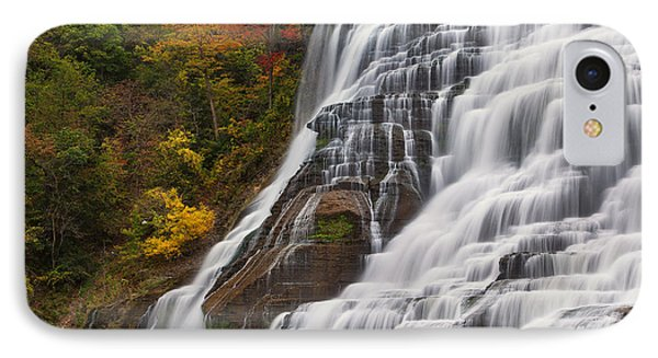 Ithaca Falls In Autumn Phone Case by Michele Steffey