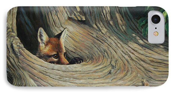 Fox - It's A Big World Out There IPhone Case by Crista Forest