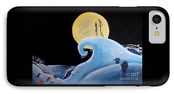 Jack And Sally Snowy Hill IPhone Case by Marisela Mungia