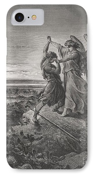 Jacob Wrestling With The Angel IPhone Case by Gustave Dore