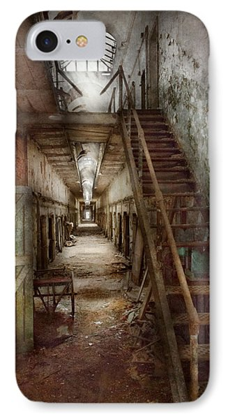 Jail - Eastern State Penitentiary - Down A Lonely Corridor Phone Case by Mike Savad