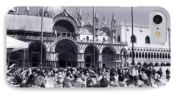 Jazz In Piazza San Marco Black And White  Phone Case by Ramona Matei