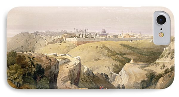 Jerusalem From The Mount Of Olives IPhone Case by David Roberts