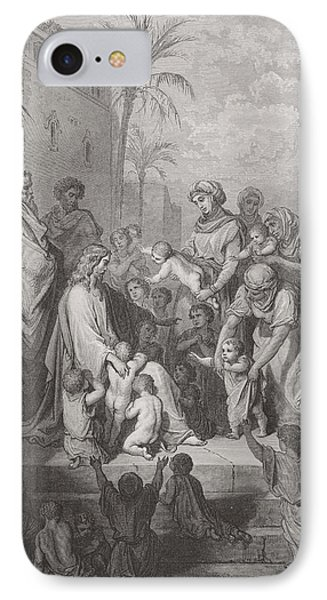 Jesus Blessing The Children IPhone Case by Gustave Dore