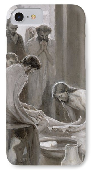 Jesus Washing The Feet Of His Disciples IPhone Case by Albert Gustaf Aristides Edelfelt