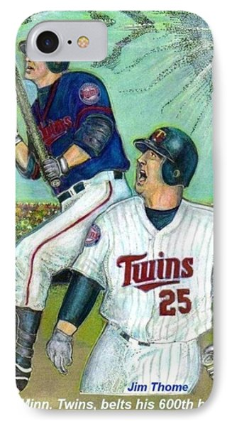 Jim Thome Hits 600th With Twins IPhone Case by Ray Tapajna