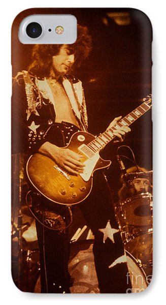 Jimmy Page 1975 IPhone Case by David Plastik