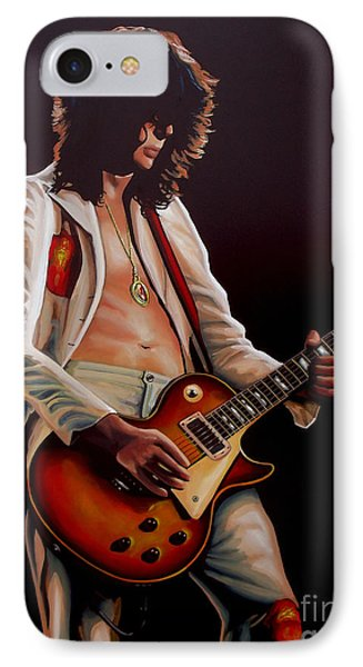 Jimmy Page In Led Zeppelin Painting IPhone 7 Case by Paul Meijering