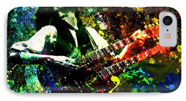 Jimmy Page - Led Zeppelin - Original Painting Print IPhone 7 Case by Ryan Rock Artist