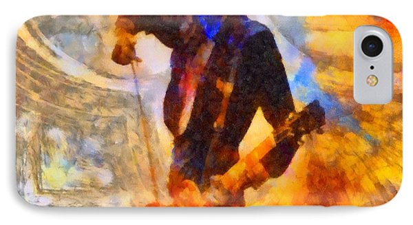 Jimmy Page Playing Guitar With Bow IPhone 7 Case by Dan Sproul