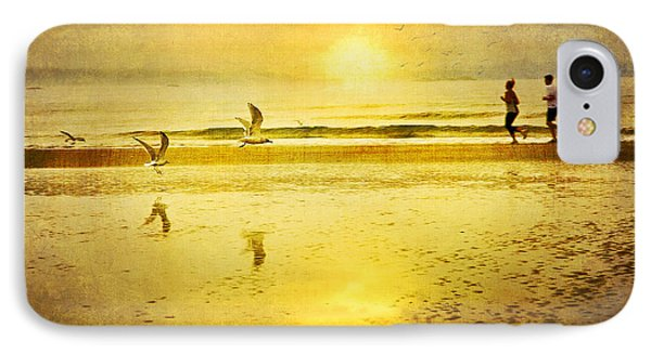 Jogging On Beach With Gulls Phone Case by Theresa Tahara