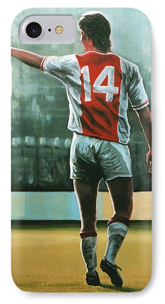 Johan Cruijff Nr 14 Painting IPhone 7 Case by Paul Meijering