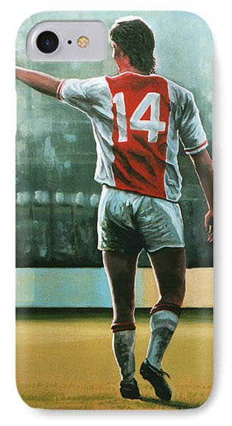 Johan Cruijff Nr 14 Painting IPhone Case by Paul Meijering
