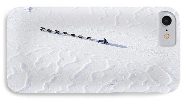 John Bakers Team Running Down Frozen Yukon River  IPhone 7 Case by Jeff Schultz