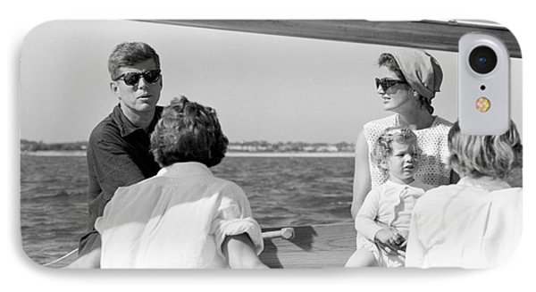 John F. Kennedy And Jacqueline Sailing Off Hyannis Port IPhone Case by The Harrington Collection