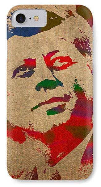 John F Kennedy Jfk Watercolor Portrait On Worn Distressed Canvas Phone Case by Design Turnpike