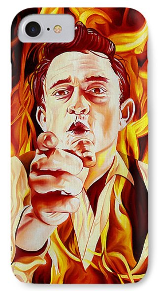 Johnny Cash And It Burns IPhone 7 Case by Joshua Morton