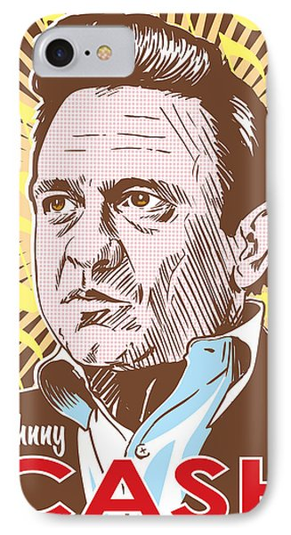 Johnny Cash Pop Art IPhone 7 Case by Jim Zahniser