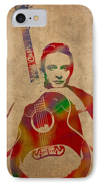 Johnny Cash Watercolor Portrait On Worn Distressed Canvas IPhone 7 Case by Design Turnpike