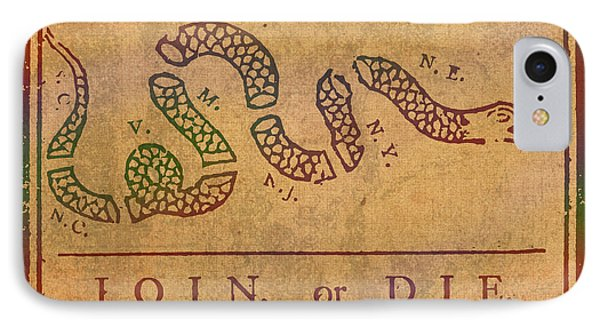 Join Or Die Benjamin Franklin Political Cartoon Pennsylvania Gazette Commentary 1754 On Parchment  IPhone Case by Design Turnpike