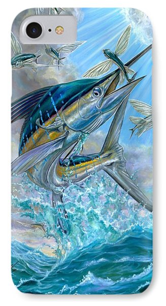 Jumping White Marlin And Flying Fish Phone Case by Terry Fox