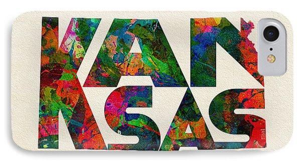 Kansas Typographic Watercolor Map IPhone Case by Ayse Deniz