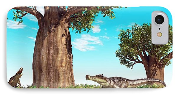 Kaprosuchus Prehistoric Crocodiles IPhone Case by Walter Myers