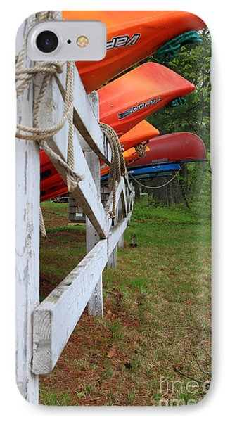 Kayaks On A Fence Phone Case by Michael Mooney