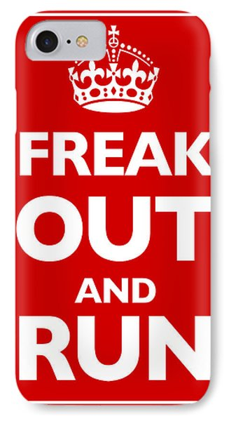 Keep Calm And Carry On Parody Red Phone Case by Tony Rubino