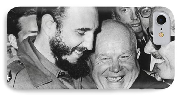 Khrushchev And Castro Phone Case by Underwood Archives