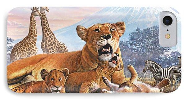 Kilimanjaro Lions IPhone Case by Steve Crisp