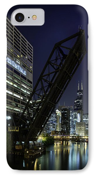 Kinzie Street Railroad Bridge At Night IPhone Case by Sebastian Musial