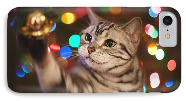 Kitty In The Lights IPhone Case by April Reppucci