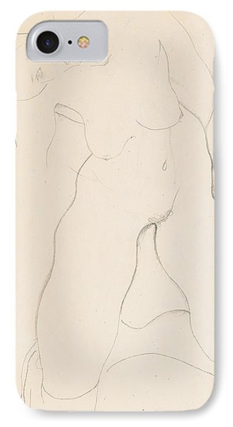 Kneeling Female Nude IPhone Case by Egon Schiele
