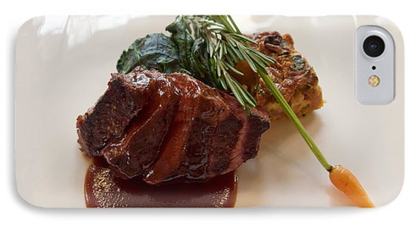 Kobe Beef With Spring Spinach And A Wild Mushroom Bread Pudding Phone Case by Louise Heusinkveld