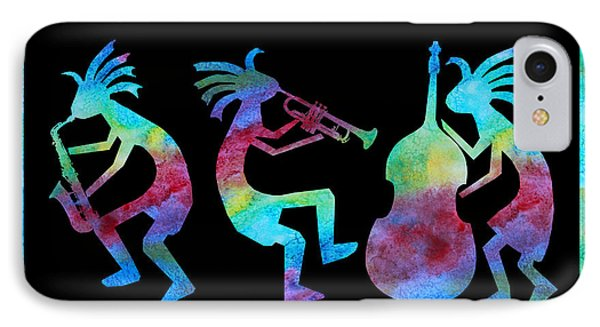 Kokopelli Jazz Trio IPhone Case by Jenny Armitage