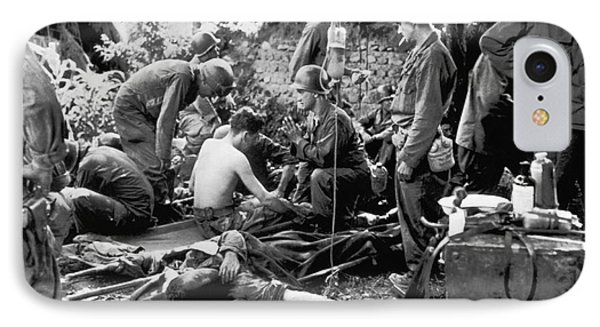 Korean War Wounded IPhone Case by Underwood Archives