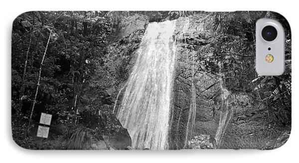 La Coca Falls El Yunque National Rainforest Puerto Rico Print Black And White Phone Case by Shawn O'Brien