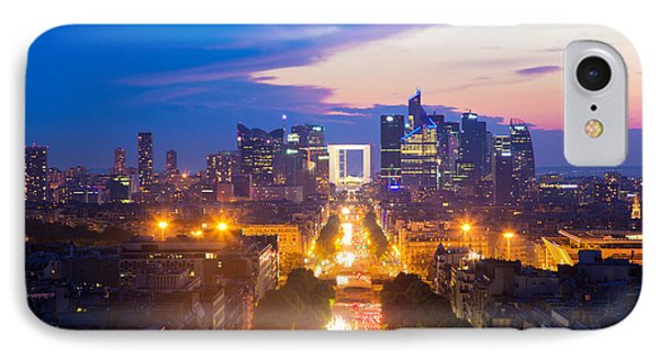 La Defense And Champs Elysees At Sunset In Paris France Phone Case by Michal Bednarek