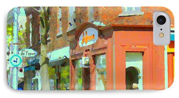 La Hacienda Resto Rue De L'epee Et Van Horne Outremont Montreal Spring City Scene Carole Spandau Phone Case by Carole Spandau