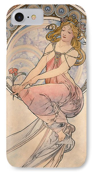 La Peinture, 1898 Watercolour On Card IPhone Case by Alphonse Marie Mucha