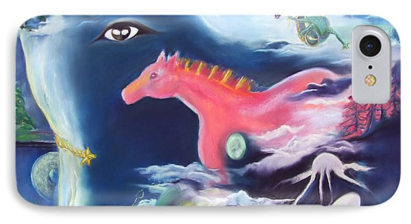 La Reverie Du Cheval Rose Or Dream Quest Of The Pink Horse. IPhone Case by Marie-Claire Dole
