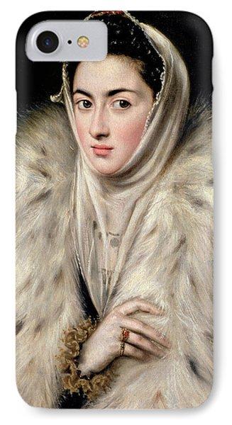 Lady In A Fur Wrap IPhone Case by Domenico El Greco