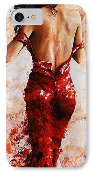 Lady In Red #24 Large  IPhone Case by Emerico Imre Toth