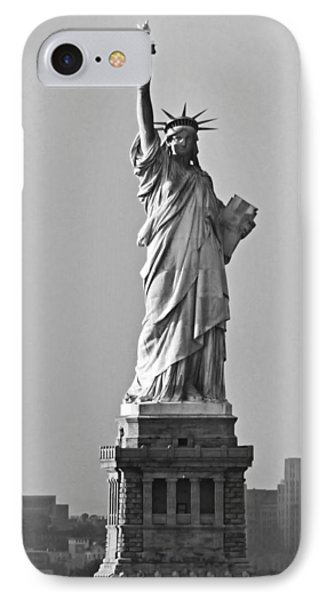 Lady Liberty Black And White IPhone Case by Kristin Elmquist