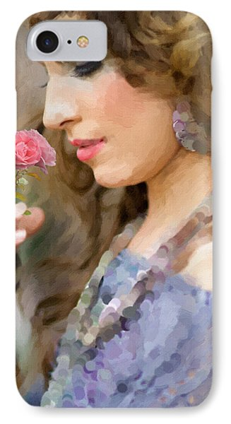 Lady With Pink Rose Phone Case by Angela A Stanton