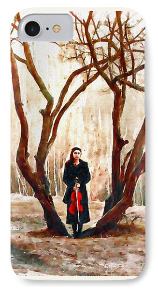 Lady With Violin IPhone Case by Marian Voicu