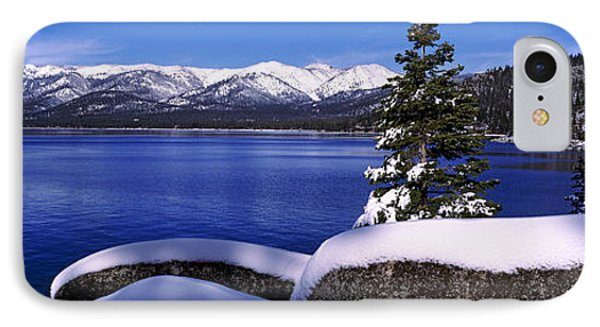 Lake With A Snowcapped Mountain Range IPhone Case by Panoramic Images